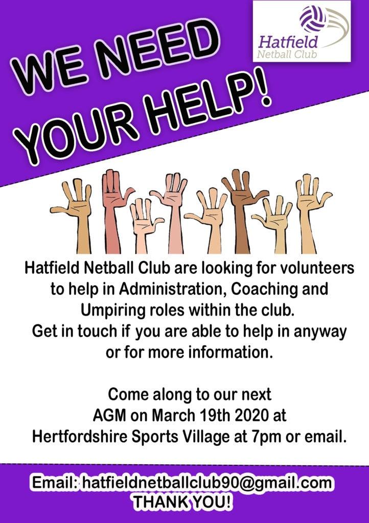 Hatfield Netball Club - Help Leaflet